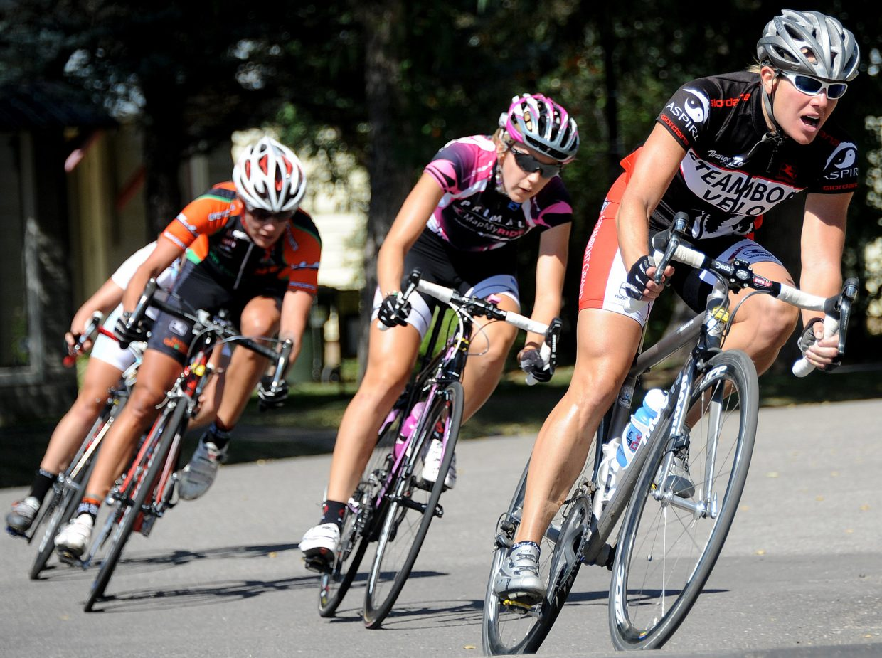 Steamboat cyclist Amy Charity leads the top women's division at last year's Steamboat Springs Stage Race. This year's race will begin with a time trial Saturday followed by a road race Sunday and the downtown criterium Monday.