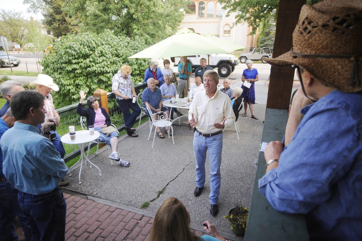 U.S. Rep. Scott Tipton speaks to constituents Friday morning at MountainBrew during a tour of Northwest Colorado communities. Tipton responded to questions from the group about the Affordable Health Care Act and also spoke about immigration and the economy.