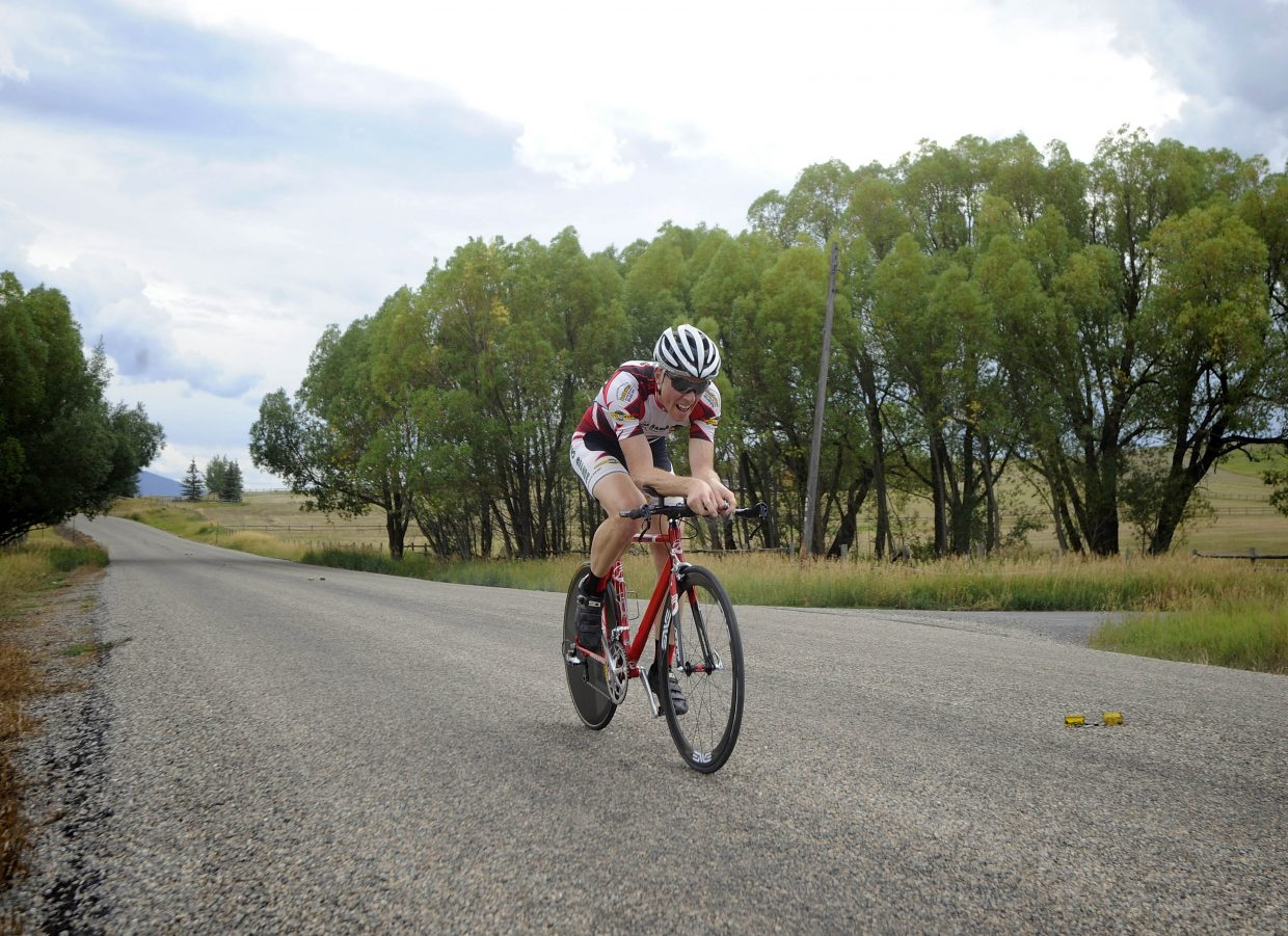 Steamboat Springs cyclist Barkley Robinson competes in the Aspire Time Trial on Saturday during the first stage of the three-day Steamboat Springs Stage Race.
