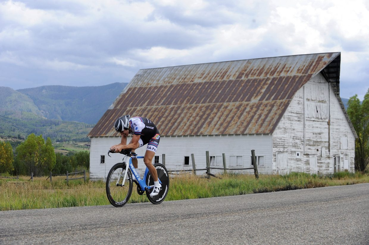 Boulder resident Kenett Peterson competes in the Aspire Time Trial on Saturday during the first stage of the three-day Steamboat Springs Stage Race.