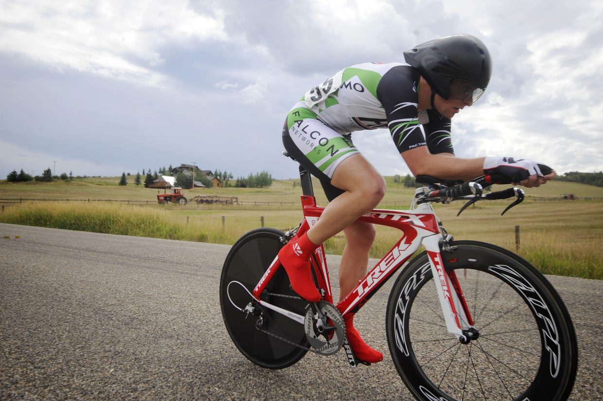 Lone Tree resident Nathan West competes in the Aspire Time Trial on Saturday during the first stage of the three-day Steamboat Springs Stage Race.