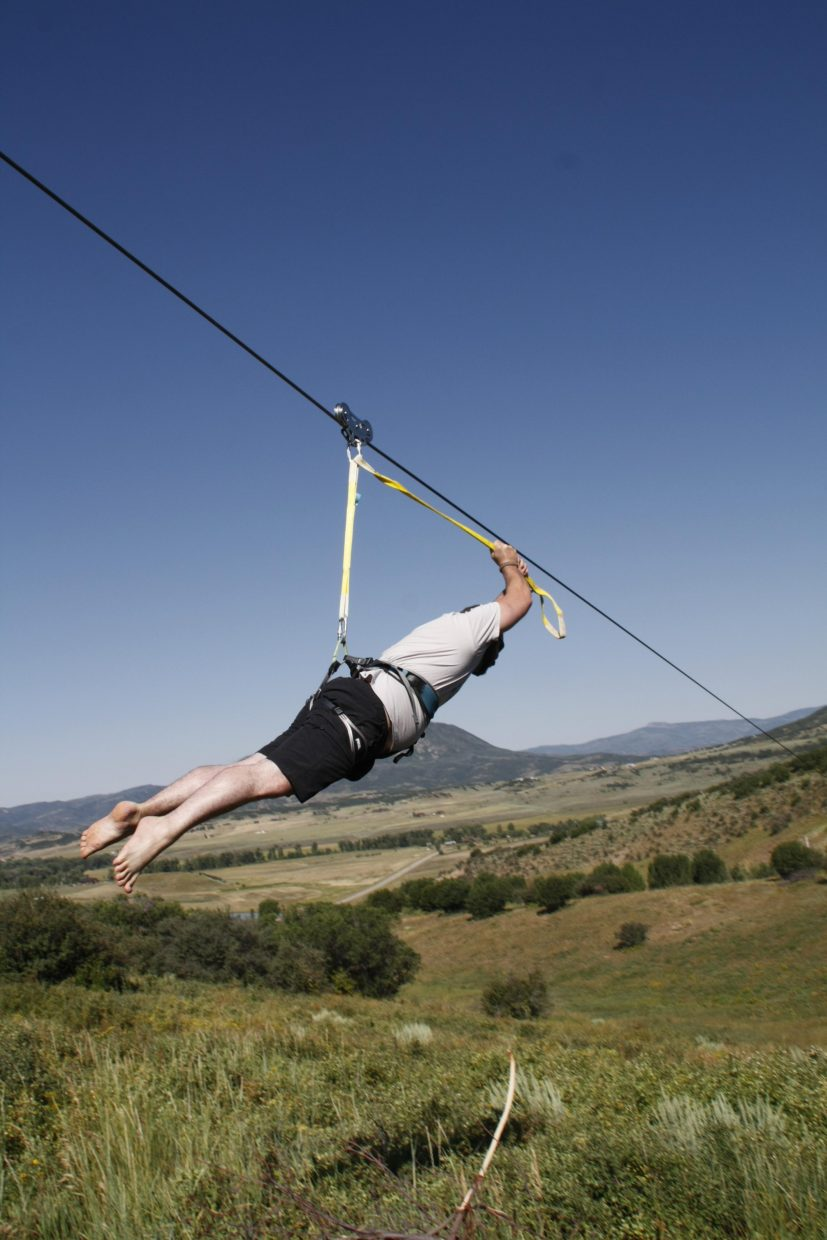 Ward Mayfield zip lines at a ranch north of Steamboat Springs. Steamboat Adaptive Recreational Sports' Craig Kennedy said Steamboat often is a giving town when it comes to supporting such camps, but people go above and beyond for veterans including, for instance, allowing them to use a private zip line.