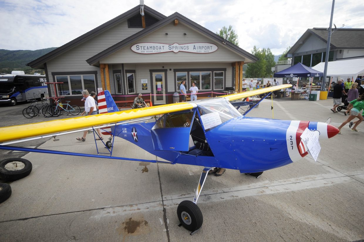 An experimental aircraft sits in front of the Steamboat Springs Airport fixed-base operator Saturday during the Wild West Air Fest.