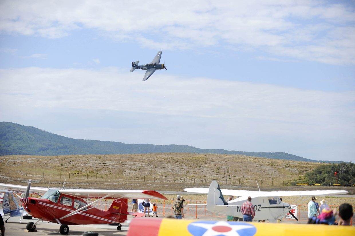 The TBM Avenger torpedo bomber flies over the Steamboat Springs Airport on Saturday during the Wild West Air Fest.