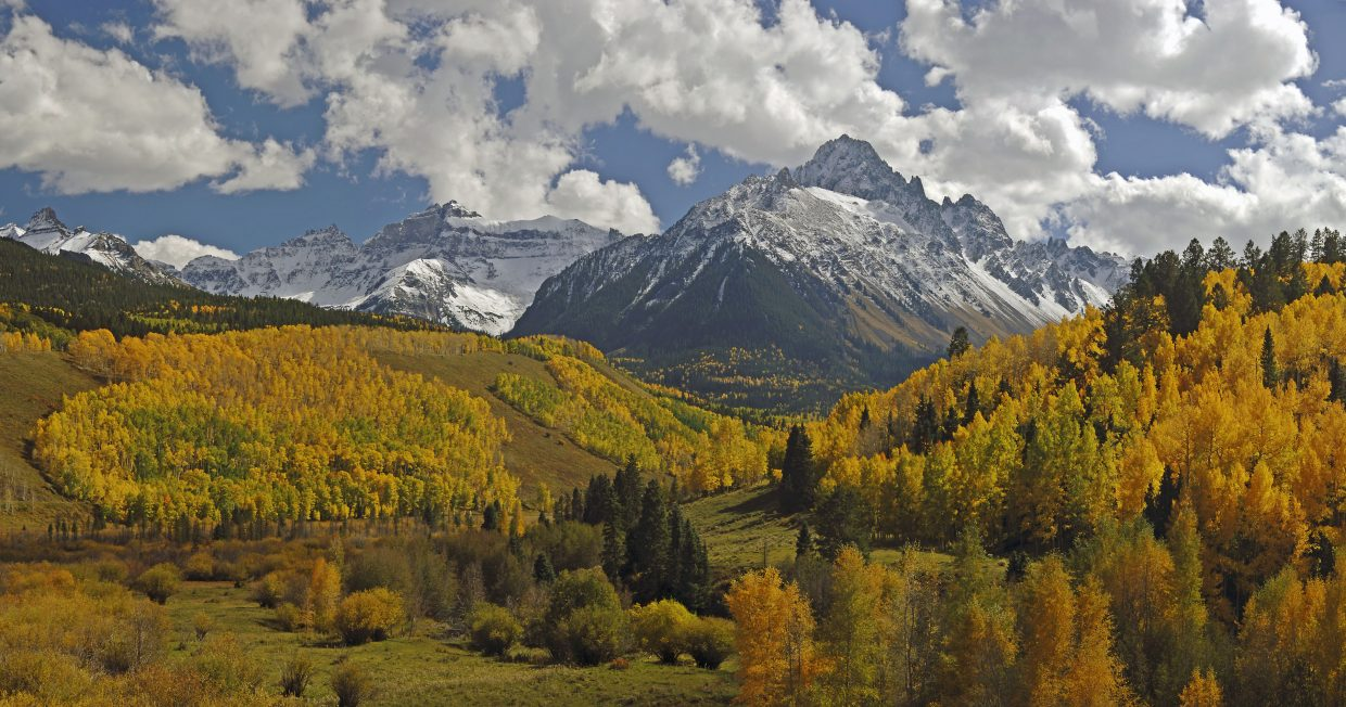 Snow-capped Mt. Sneffels looms over the changing autumn colors on the sides of a meadow along C.R. 7 and leading to access to the Uncompahgre National Forest.