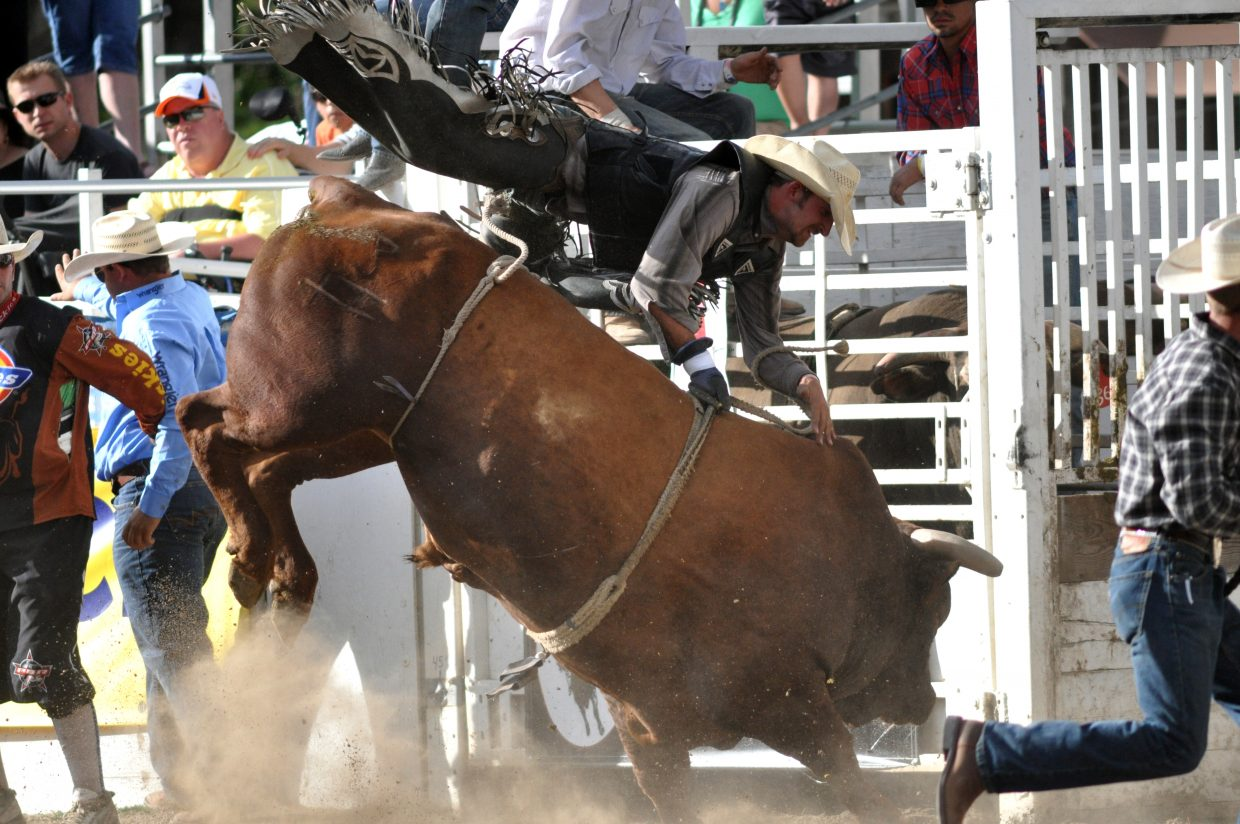 Shortly before they were ejected, some of the cowboys at the Rocky Mountain Bull Bash appeared to be flying during the bull ride.