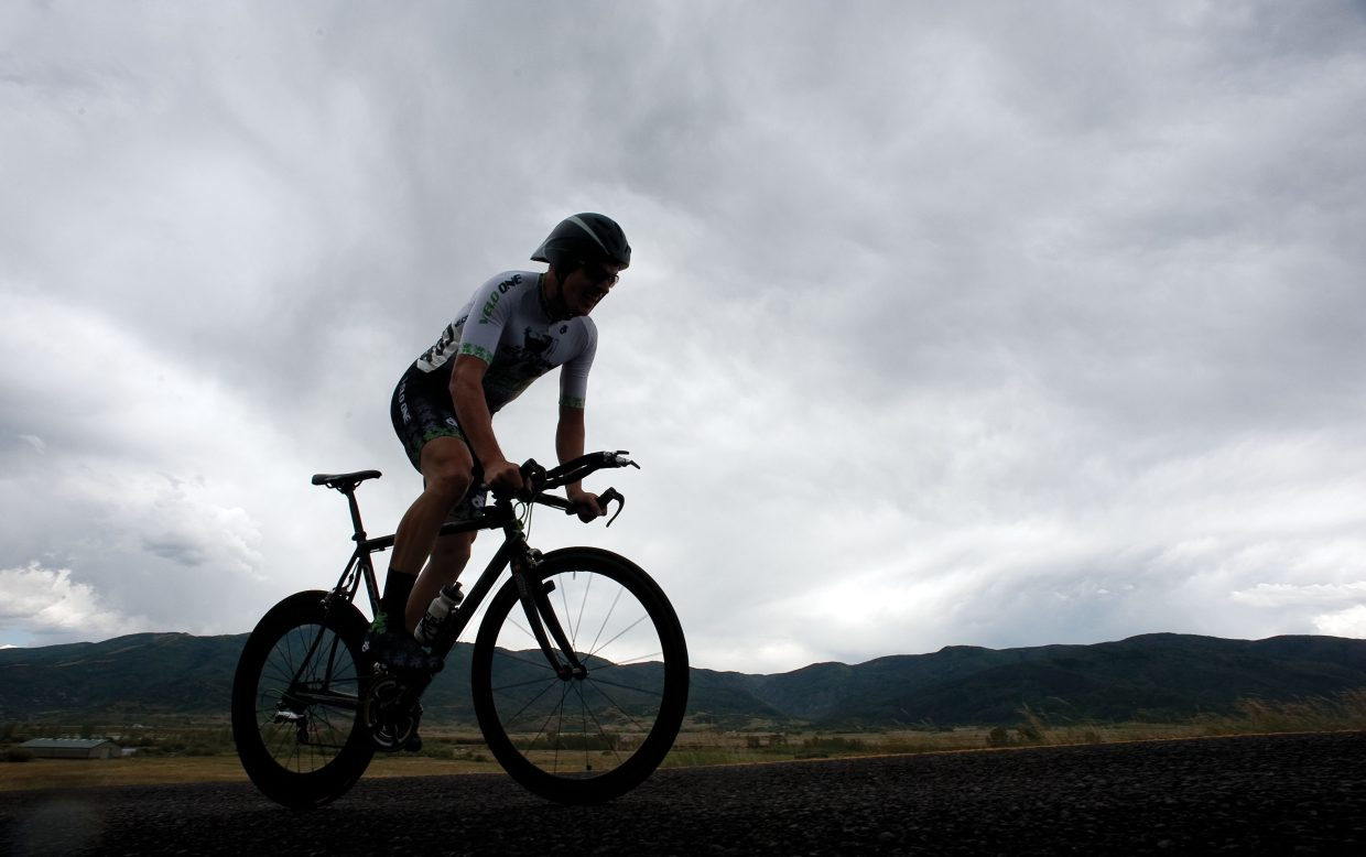 Fort Collins cyclist Justin Hall races along Routt County Road 14 on Friday afternoon during the time trial, the first stage of the Steamboat Springs Stage Race.