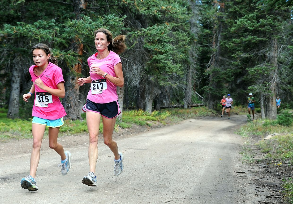 Anna Terranova, left, and Jodi Terranova run in Sunday's 10K at 10,000 Feet race on Rabbit Ears Pass.