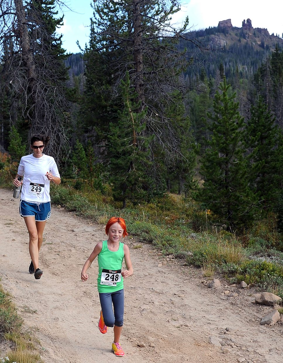 Avalon Thunstrom, front, and Courtney Thunstrom run in Sunday's 10K at 10,000 Feet race on Rabbit Ears Pass.