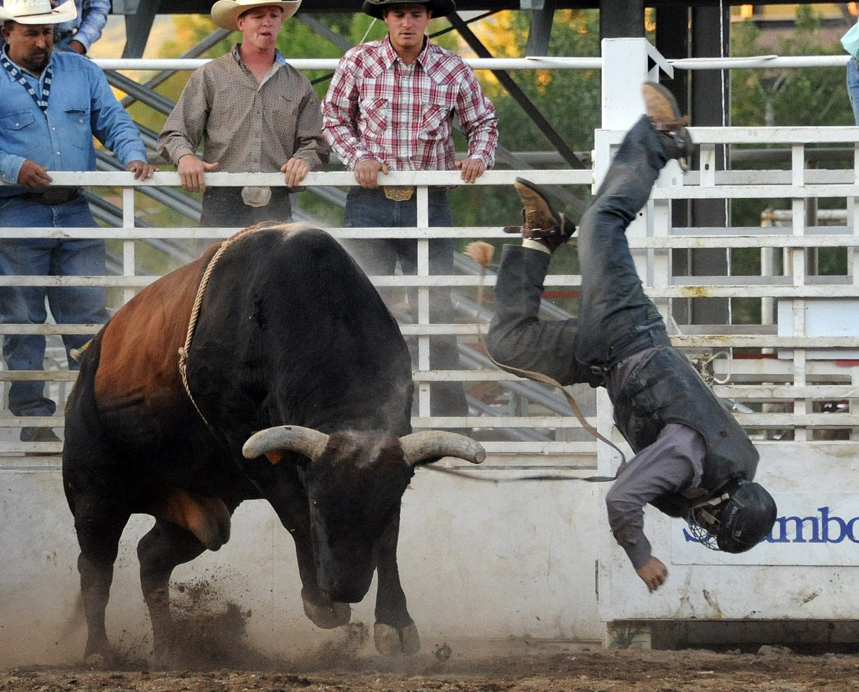 A bull wins a match with a rider Sunday at the Rocky Mountain Bull Bash in Steamboat Springs.