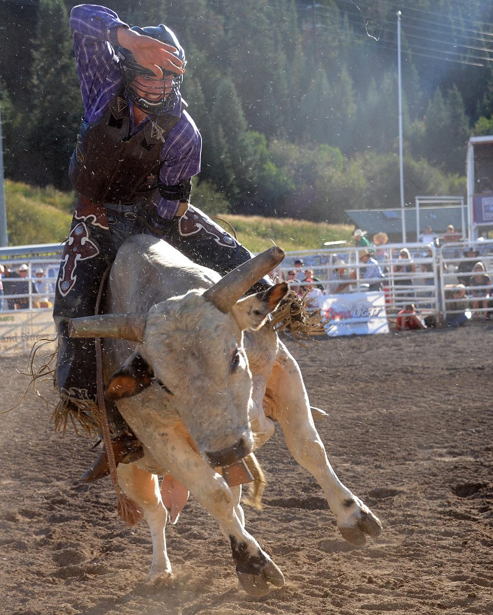 A cowboy rides Sunday at the Rocky Mountain Bull Bash in Steamboat Springs.