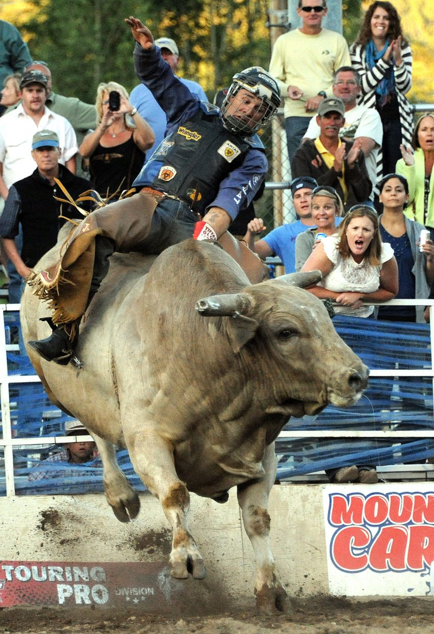 Cody Ford rides Sunday at the PBR Rocky Mountain Bull Bash in Steamboat Springs.