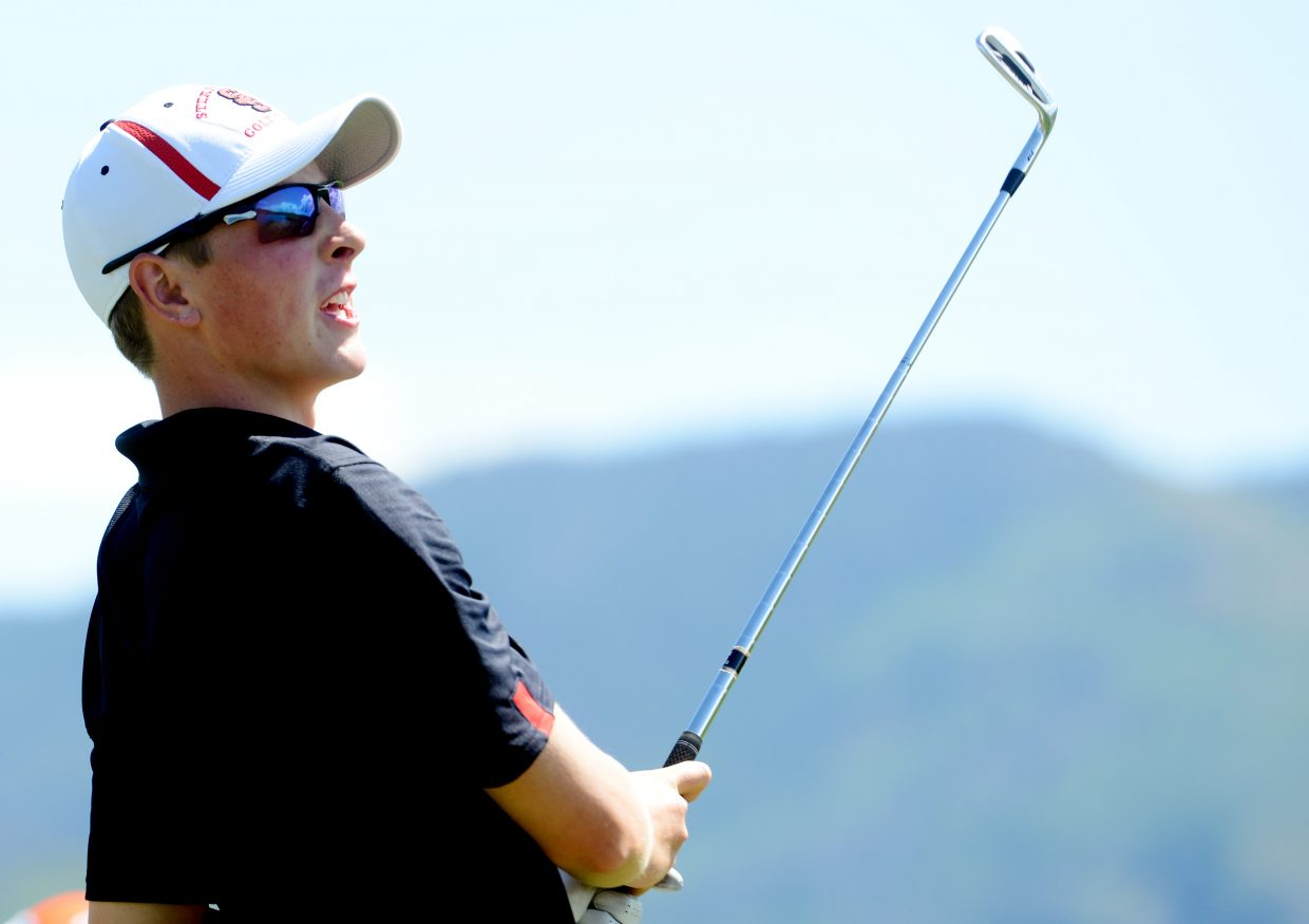 Erik Sobeck reacts to a shot Thursday at Haymaker Golf Course in Steamboat Springs.