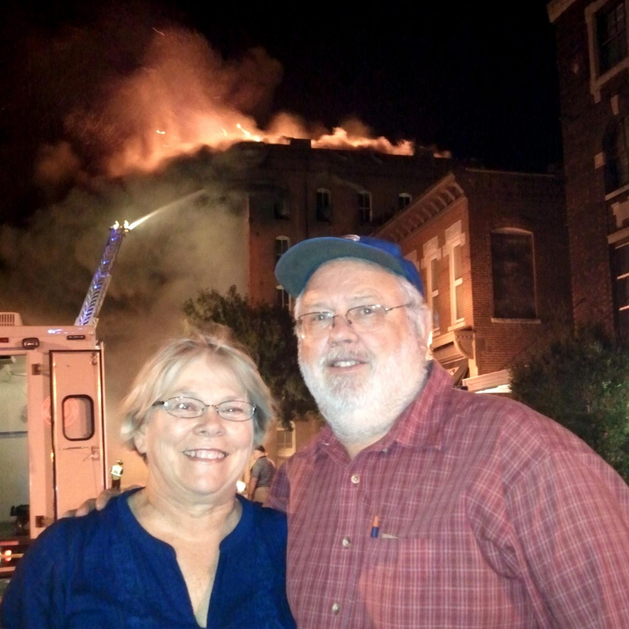 Diane and Gary Stensland, parents of Steamboat Springs resident Matt Stensland, celebrated their 50th wedding anniversary Sept. 6, 2013. They celebrated in August with all four of their children, six grandchildren and other family members at the Stensland Family Farm in Fairview, S.D. They spent part of their anniversary watching this fire at an abandoned historic building in Quincy, Ill. They live in Urbana, Ill., but were in Quincy watching their granddaughter Morgan McGinnis play tennis at Quincy University.