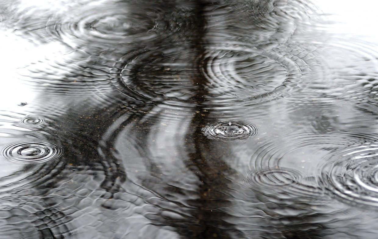 A raindrop splashes in a puddle in a parking lot in Steamboat Springs on Monday afternoon.