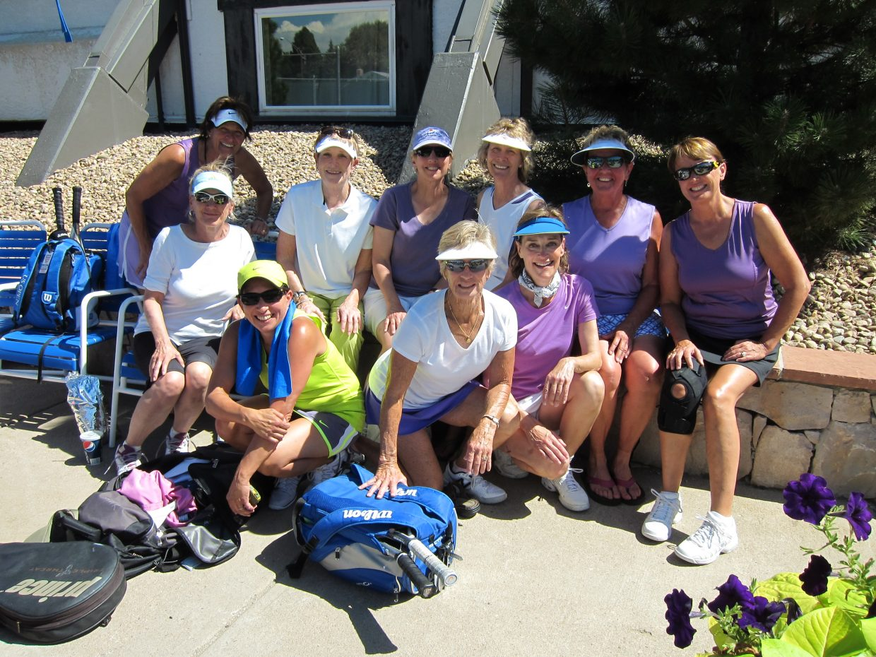 The Steamboat Springs Tennis Center Ladies 3.5 team, 40 and older, competed Friday and Saturday at the Colorado State Finals in Denver. Back row, from left, are Mary Weiss, Janet Liefer, Marcia Pomietlasz, Susan Paulis, Carolyn Krueger, Roberta Gill and Colleen Bearss. Front row, from left, are Barb Hoovler, captain, Jan McGinnis and Marion Kahn, co-captain.