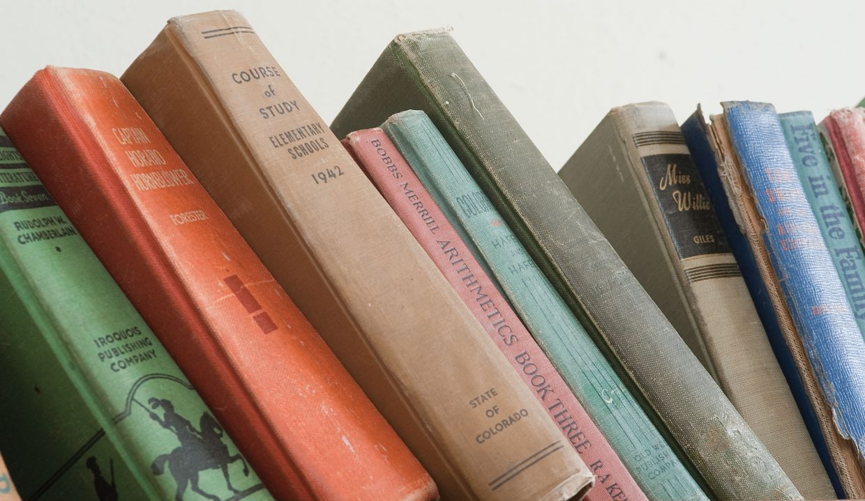 School books inside the Mesa Schoolhouse are a reminder of the early days of education in Routt County.
