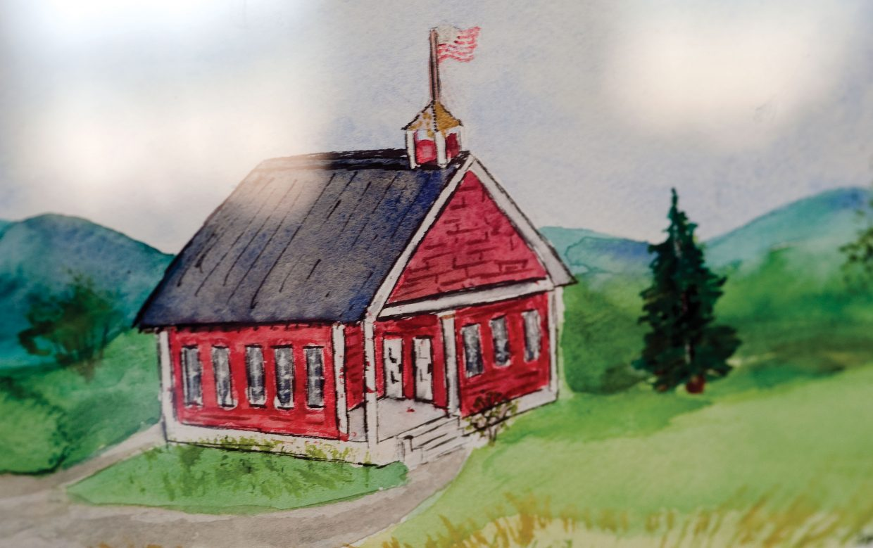 A painting inside the Mesa Schoolhouse depicts the building as it may have appeared in the early 1900s.