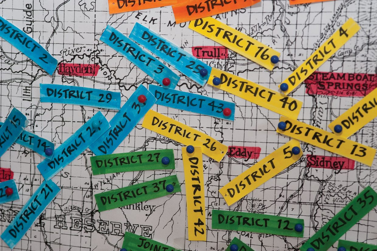 A map shows the early school districts in Routt County and the different one-room schools.