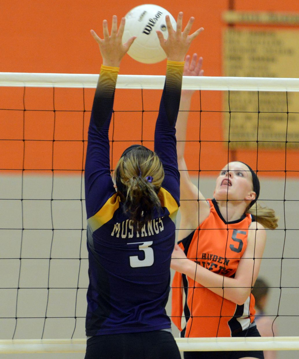 Hayden freshman Grace Wilkie pushes a shot over the net Thursday against West Grand.