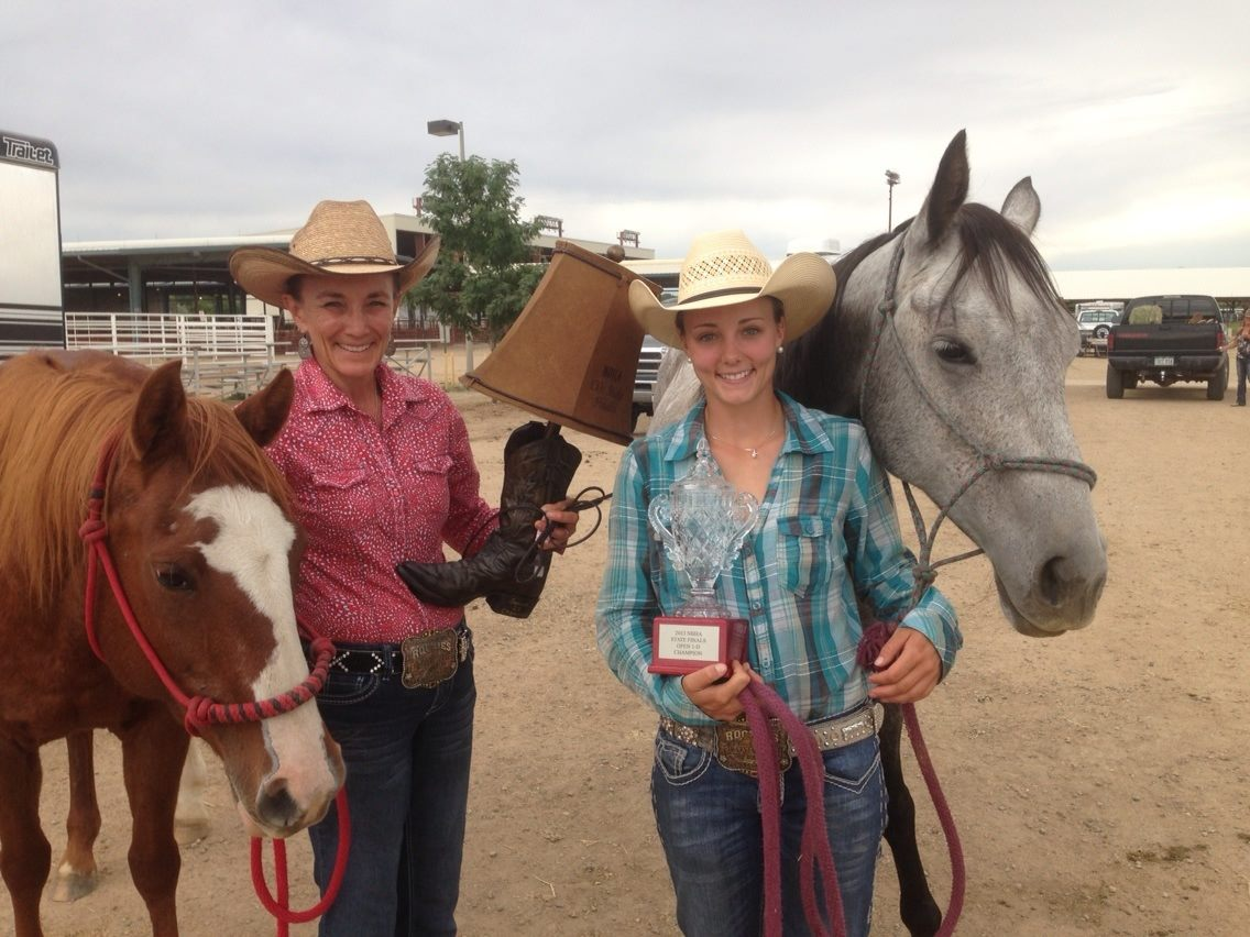 Mother-daughter combo Alicia, left, and Kelsey Samuelson competed at the Colorado State National Barrel Horse Championship on Sept. 6 and 7 in Longmont. Alicia won the senior 50-and-older division 1D both days, and Kelsey won the 1D open competition.