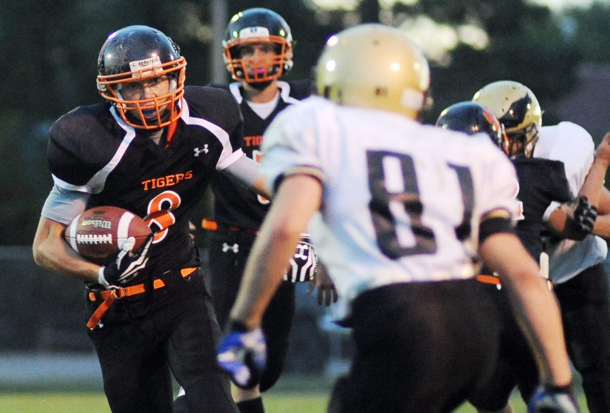 Dan Engle rumbles up the field Friday against Rocky Mountain Lutheran.
