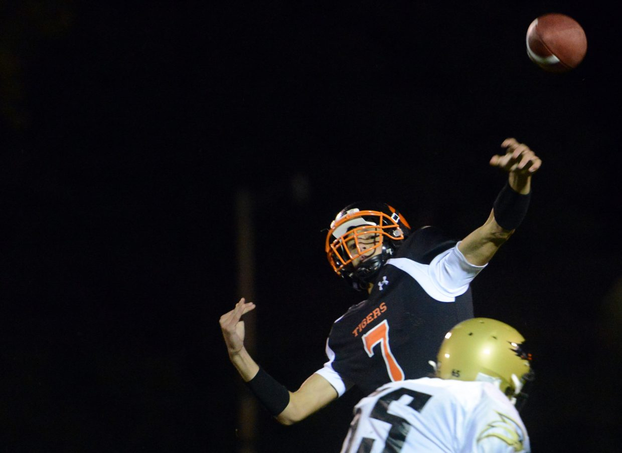 Hayden quarterback Isaac Bridges lofts a pass Friday against Rocky Mountain Lutheran. The pass was completed to Jack Redmond for a second-half touchdown.