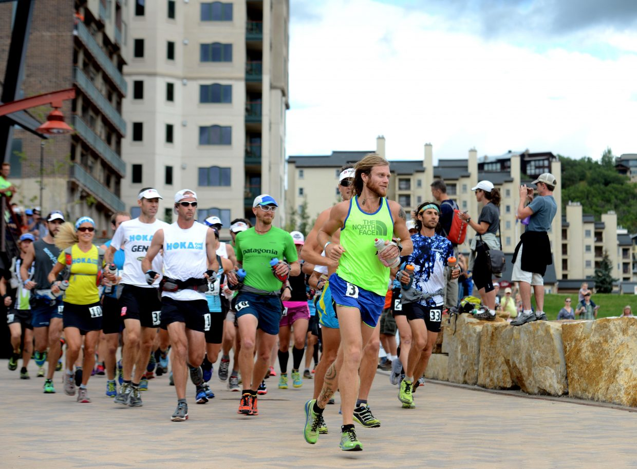 Timothy Olson leads the pack away from the starting line Thursday to start the Run Rabbit Run 100-mile ultramarathon in Steamboat Springs.