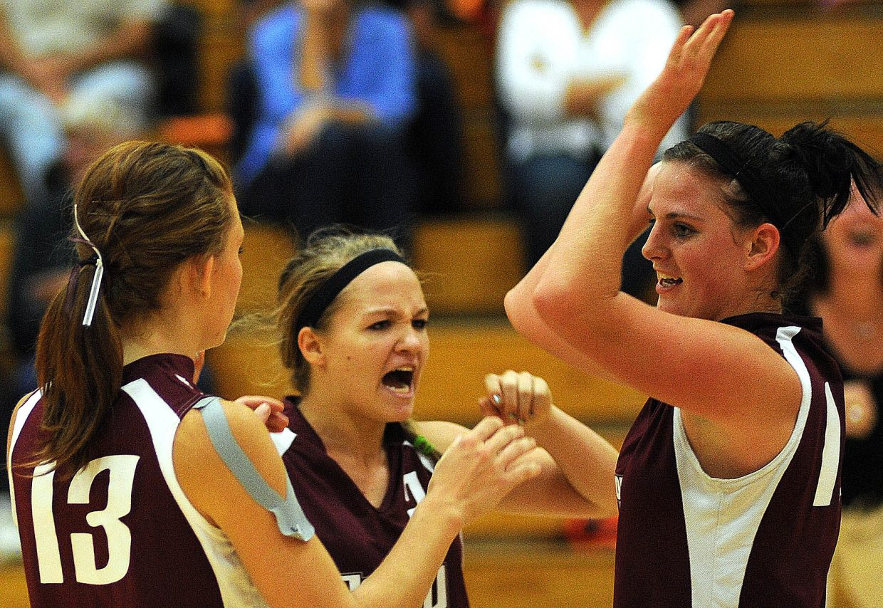 The Soroco girls volleyball team celebrates a point in Friday's win against Hayden.