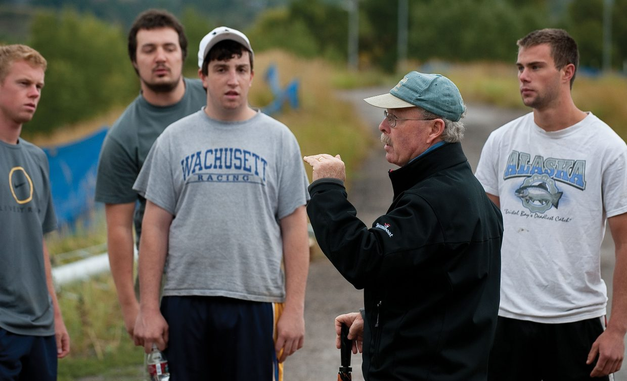 Colorado Mountain College Alpine ski coach Terry Leonard addresses his athletes during a training session at Howelsen Hill. His efforts to move the team to the the Division I Rocky Mountain Intercollegiate Ski Association have been three years in the making.