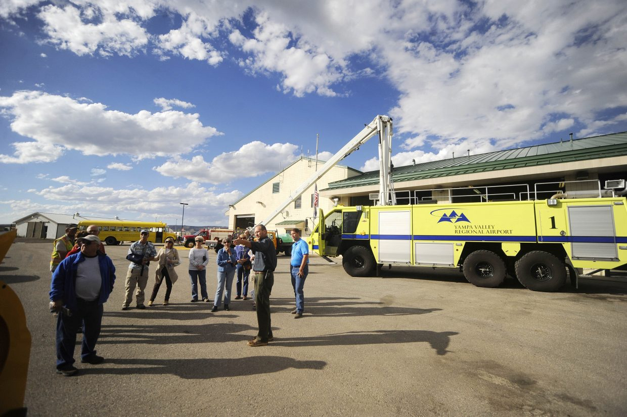 Yampa Valley Regional Airport Manager Dave Ruppel hosts a tour of the airport Wednesday.
