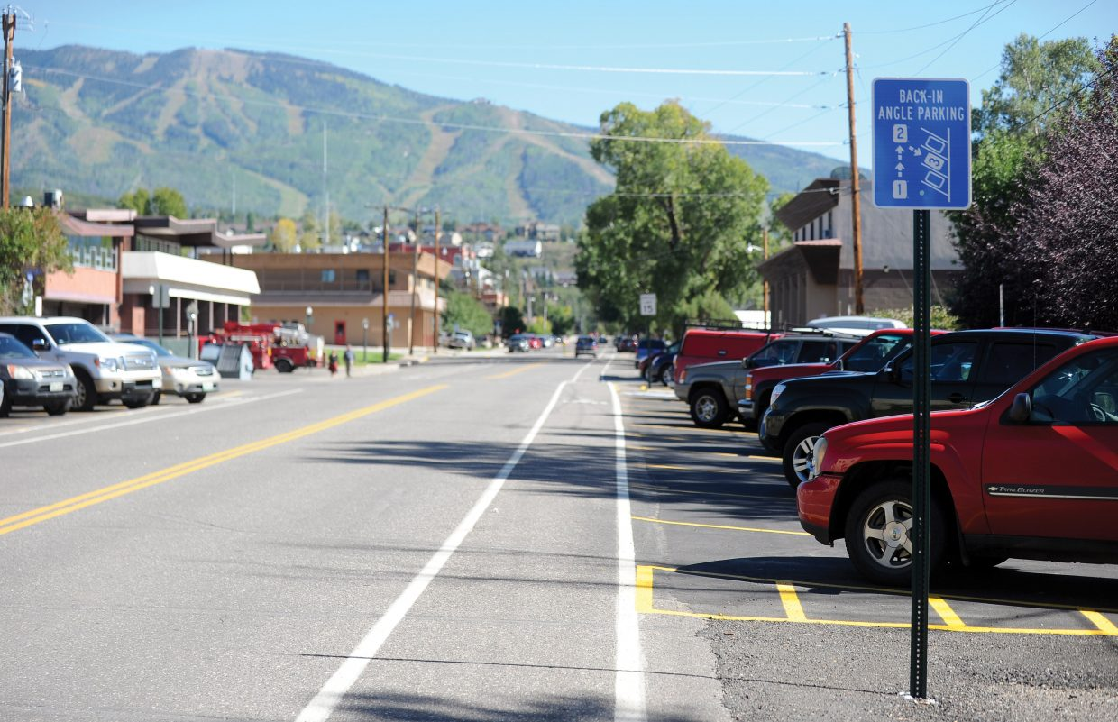 The city of Steamboat Springs launched the first angled parking at 10th and Yampa streets in downtown in 2013. City officials say the new style of parking makes the street safer for pedestrians, cyclists and drivers.