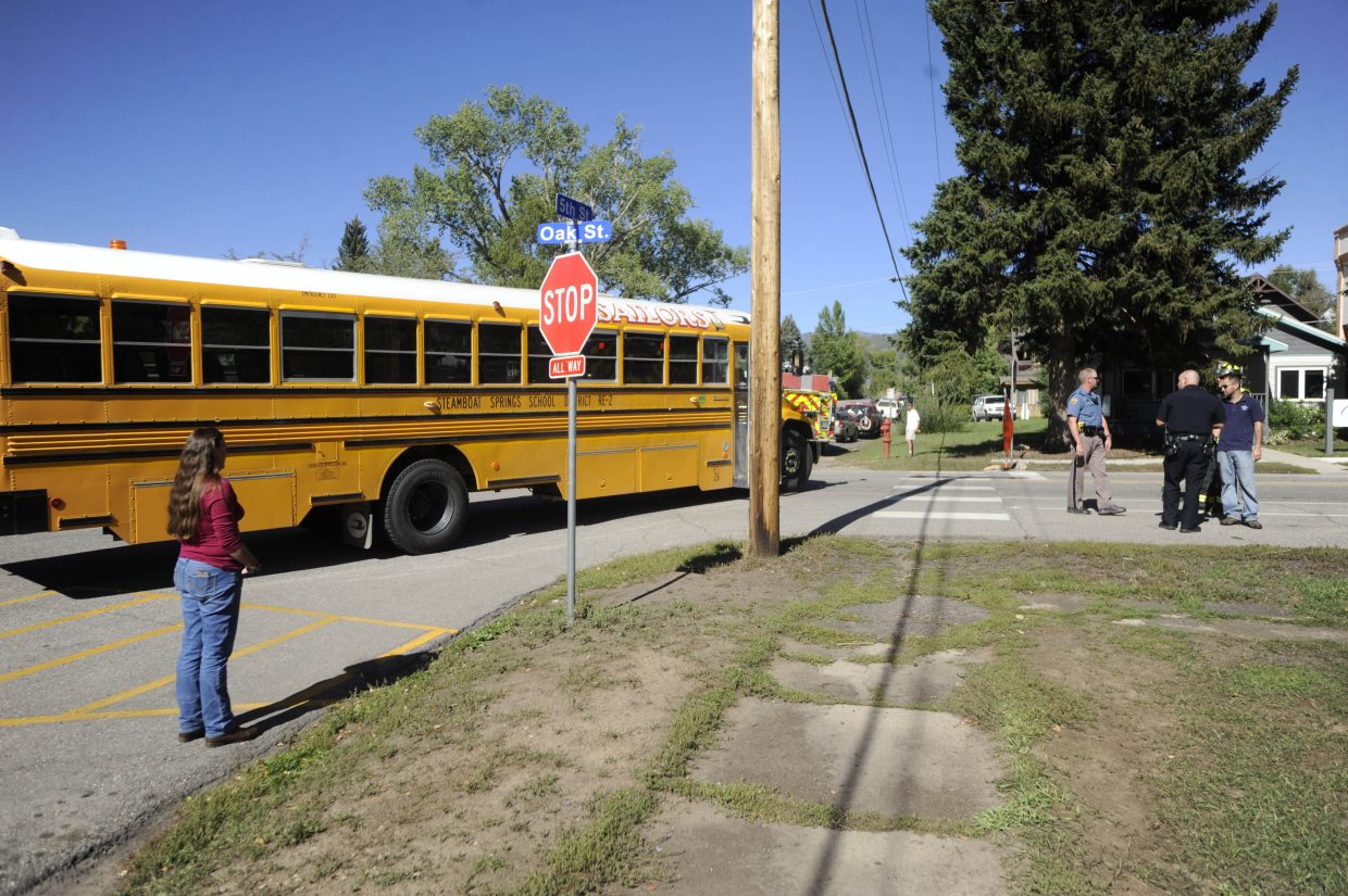 No one was injured Friday at this fender bender at Fifth and Oak streets involving a Steamboat Springs School District bus and an SUV. There were no students on the bus.