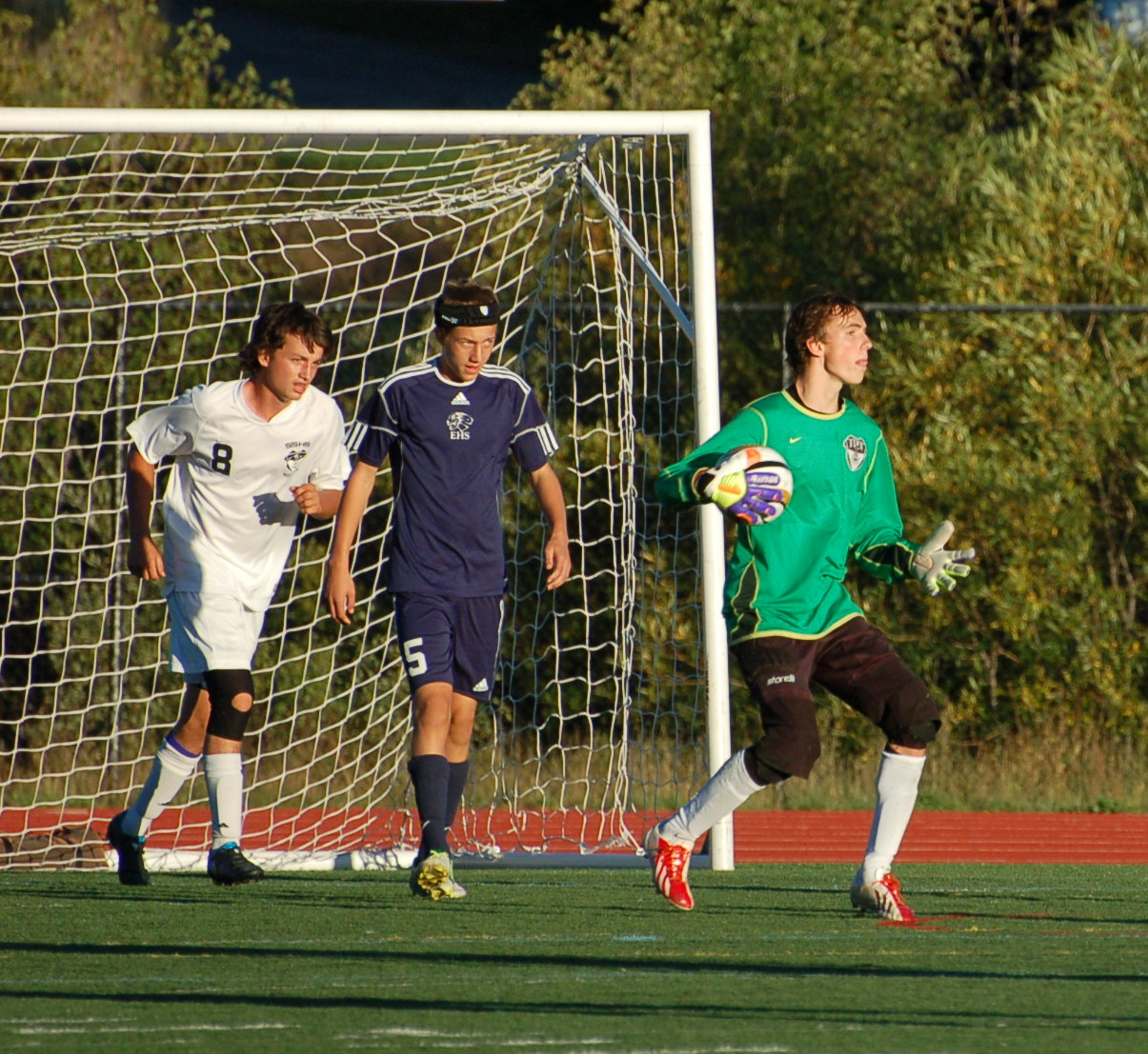 Goalie Jake Anderson makes the stop for the Sailors.