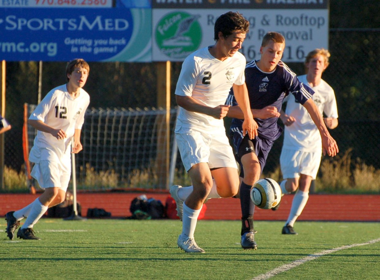 Michael Wong heads for the goal for the Sailors in Saturday's game.