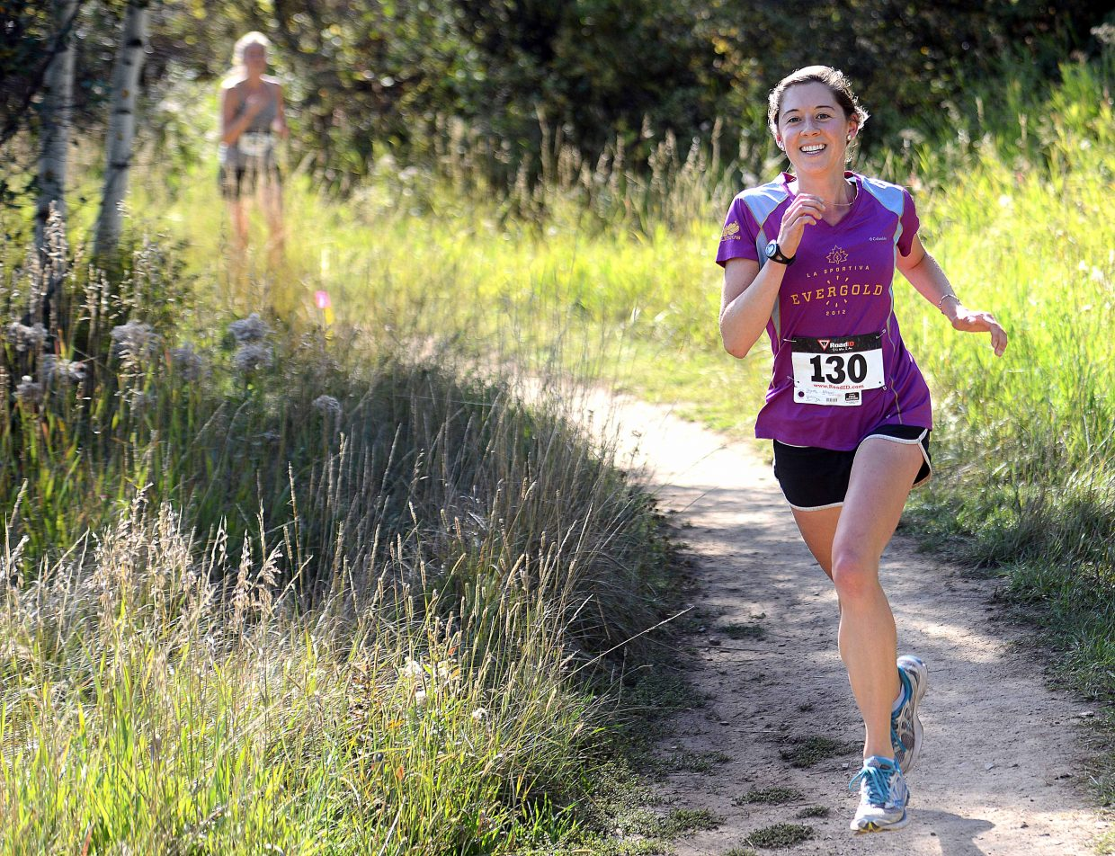 Runners head toward the finish line of Saturday's Emerald Mountain Trail Run in Steamboat Springs.