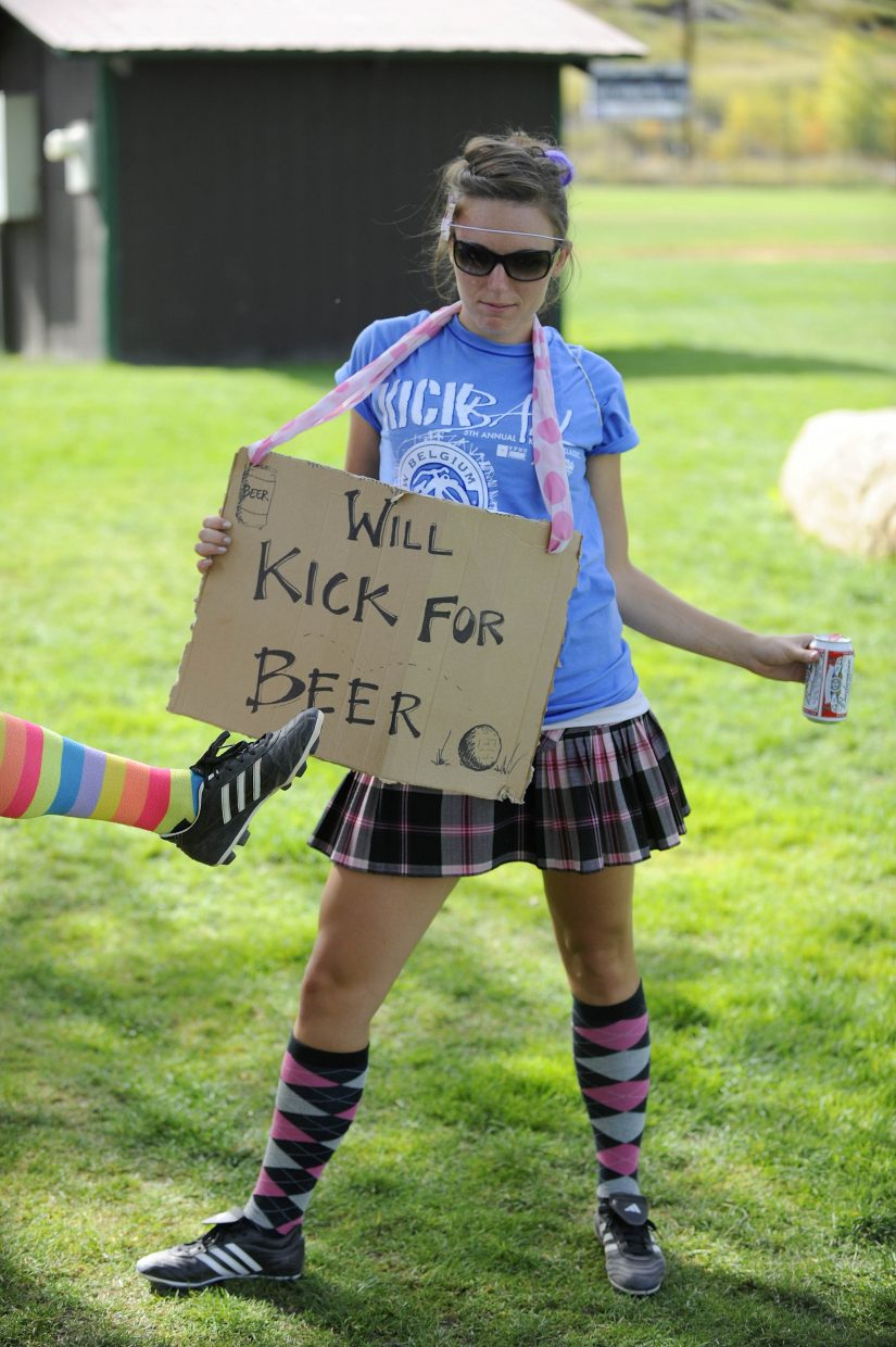 Nicole Martin's sign was helping her get recruited to play for other teams during Saturday's New Belgium Kickball Klassic at Howelsen Hill.