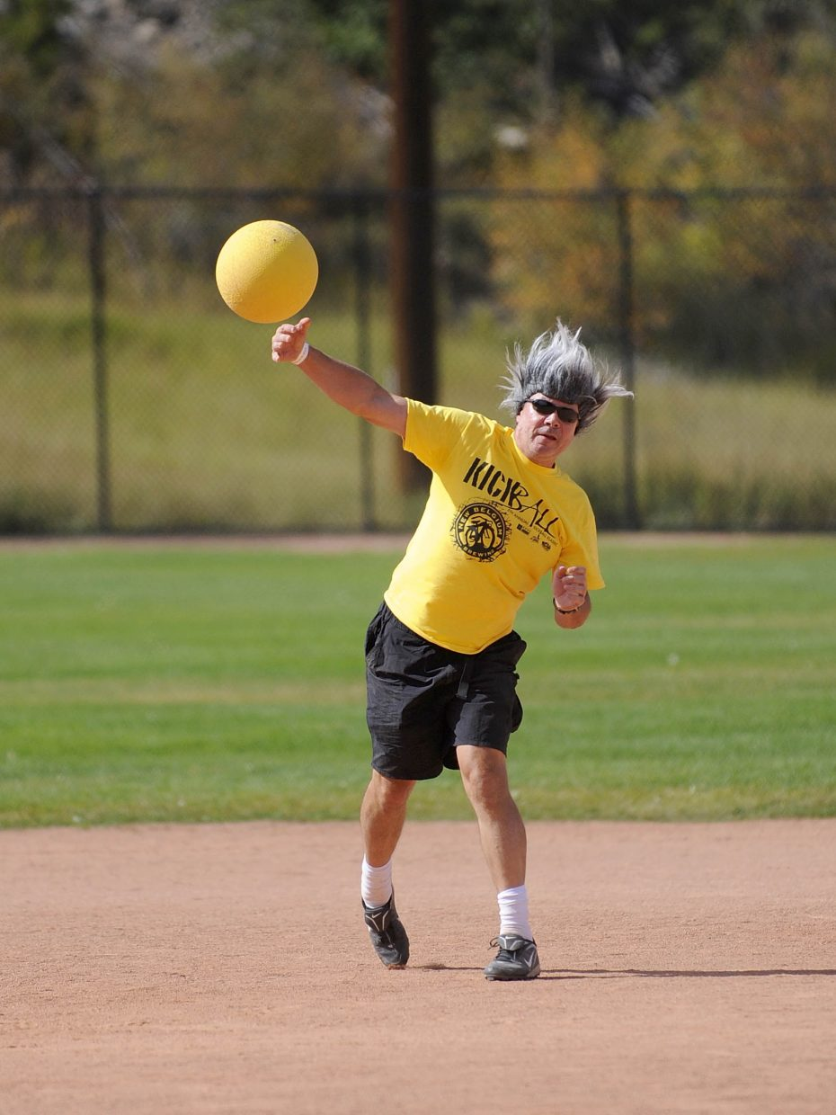 Mike Aljanich warms up during Saturday's New Belgium Kickball Klassic at Howelsen Hill.