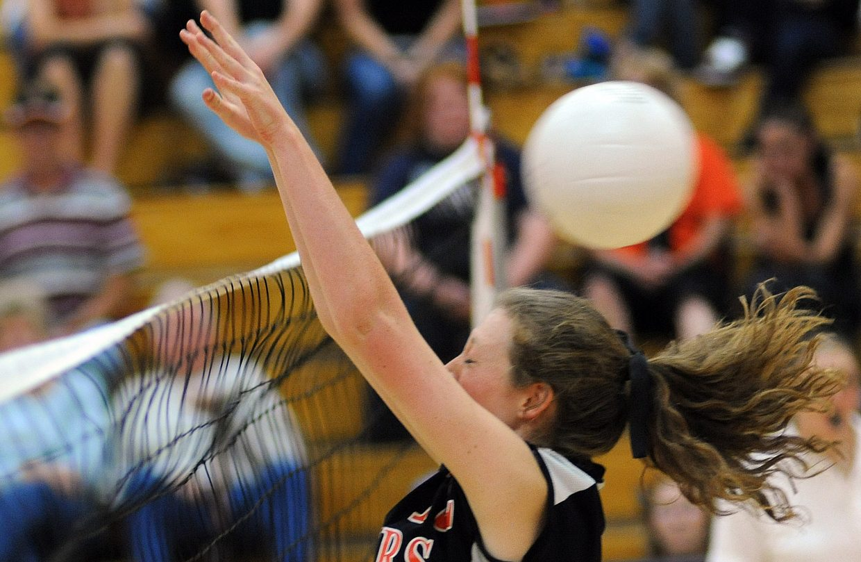 The ball slips by Hayden's Aubree Haskins on Saturday as the Tigers fell in three games to Rangely. Hayden led in each of the games, but the Panthers rallied every time to win the match.