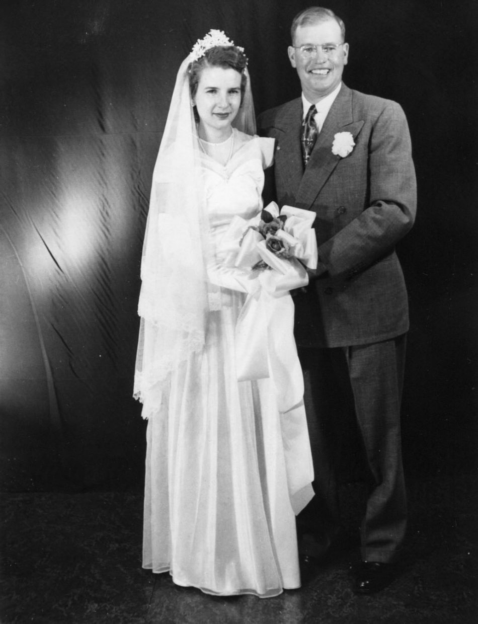 Betty and Lewis Kemry on their wedding day in 1950.