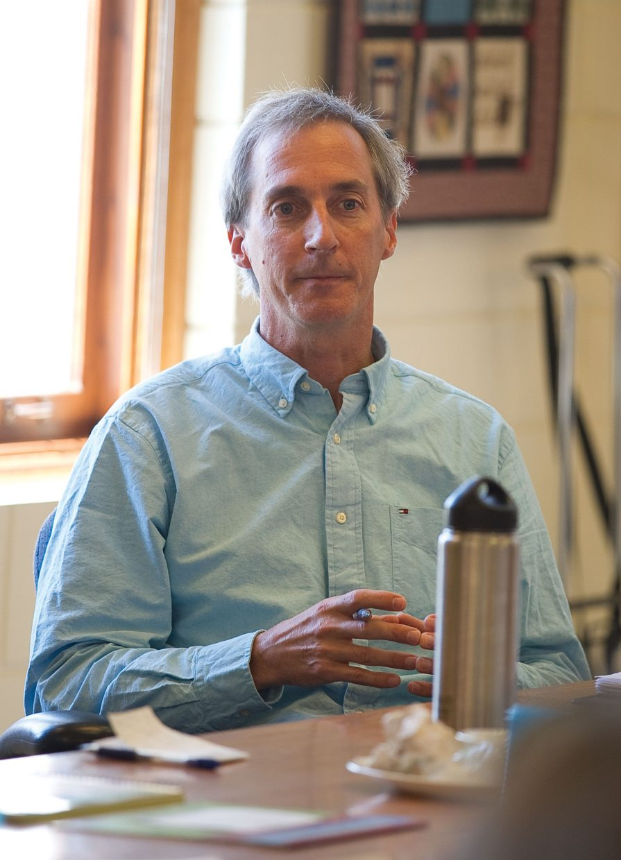 Steamboat Springs City Council candidate Dave Moloney addresses a question during a forum hosted by First Impressions of Routt County on Wednesday afternoon at the Routt County Courthouse. Moloney is running against Sonja Macys, who was also at the forum.