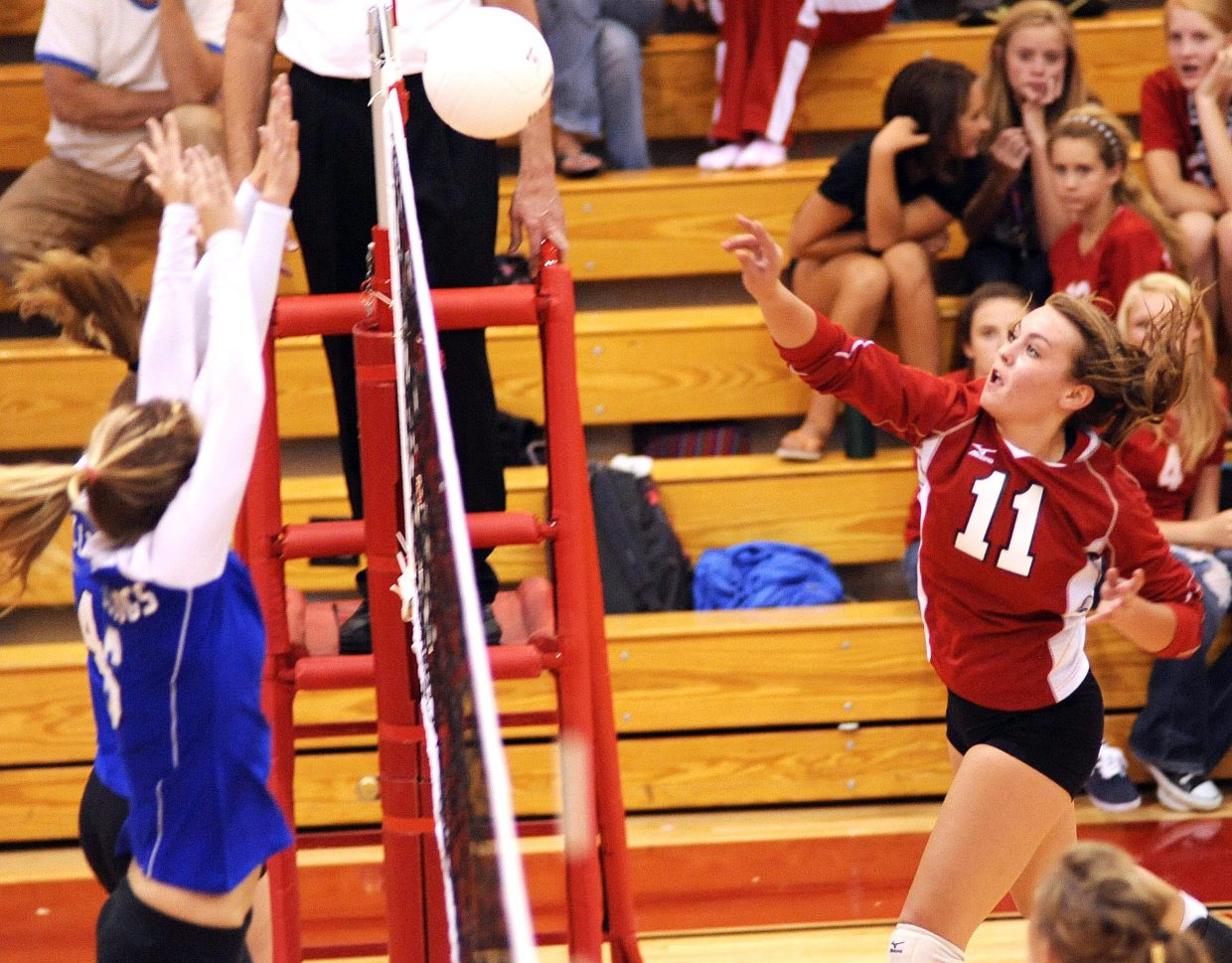 Steamboat's Alex Feeley hits the ball Thursday against Mofffat County.