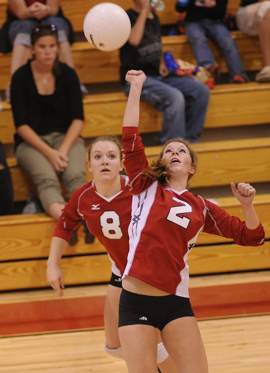 Steamboat's Callie Hvambsal bumps the ball with her fist Thursday against Moffat County.