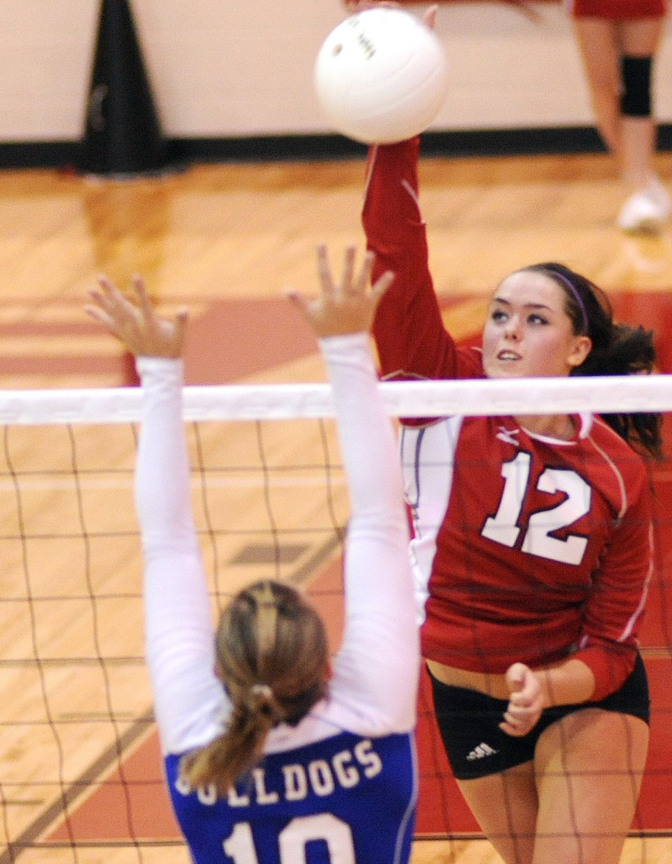 Steamboat's Amy Brodie swings for a kill Thursday against Moffat County. The Sailors swept the Bulldogs, winning in three games.