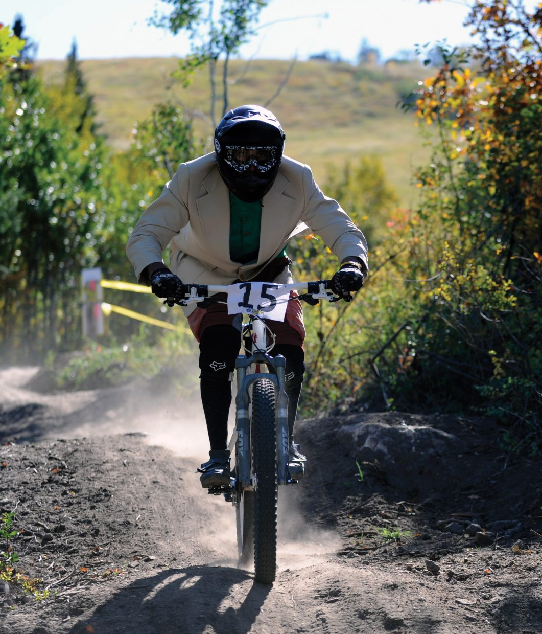 Gerry Verdoner tears down the course Sunday during the second annual Bike Summit Downhill race.