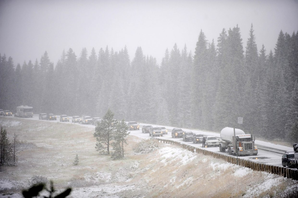 Cars are backed up Thursday on Rabbit Ears Pass after an accident.