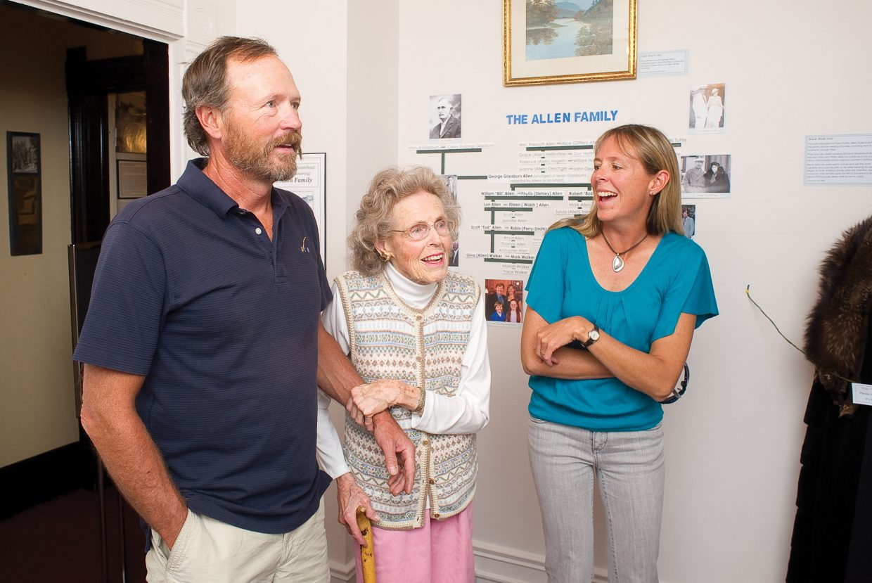 Phyllis Allen, center, checks out the new exhibit at the Tread of Pioneers Museum on Thursday with her son Lon Allen and daughter Gina Walker. The exhibit chronicles the family's heritage in Routt County.