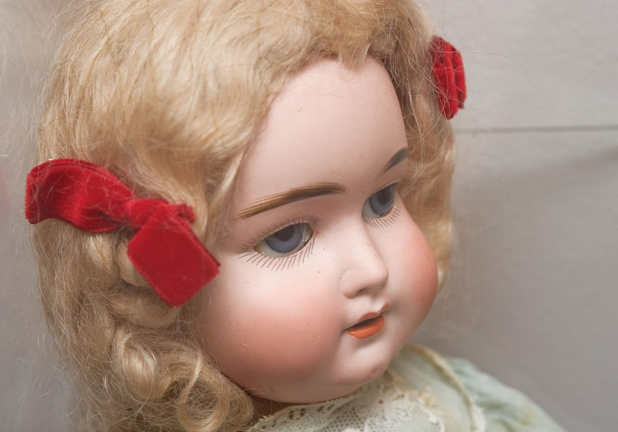 This antique doll was owned by Faye Allen and is on display as part of a special exhibit at the Tread of Pioneers Museum.