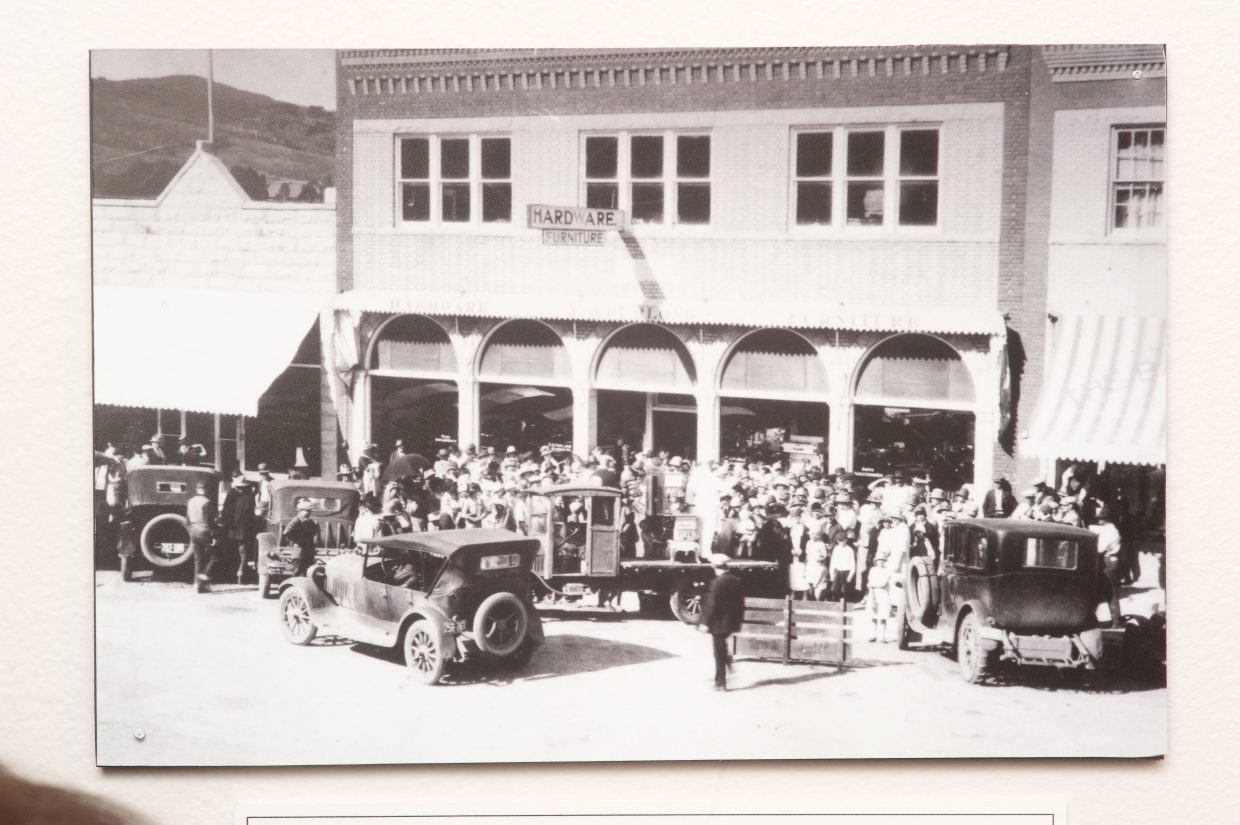 This historic photograph shows the front of Furlong's hardware store in Steamboat Springs. It is part of a new display at the Tread of Pioneers Museum featuring the Allen family.