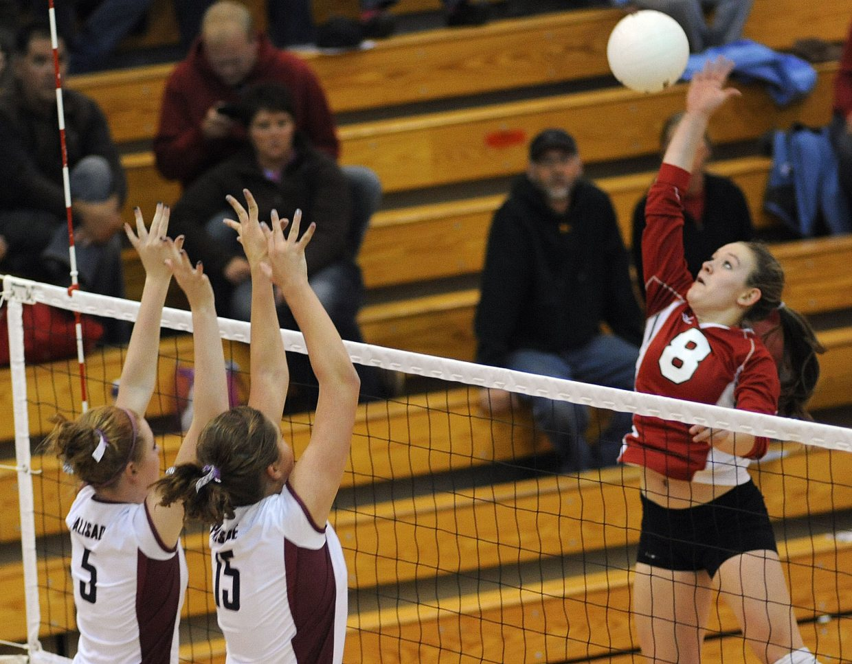 Nikki Fry swings for the ball Saturday against Palisade.